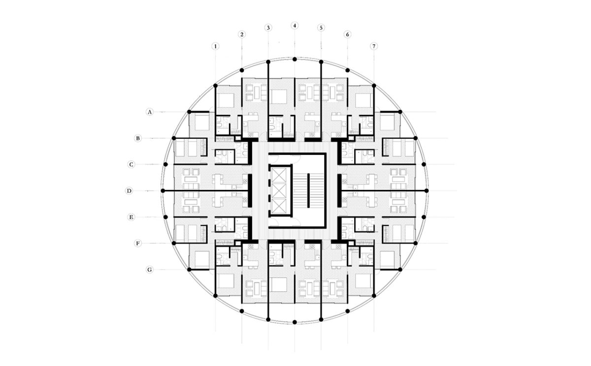 Typical plan of the tower with circular shape
