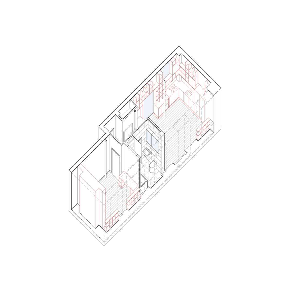 Private residence in Shoreditch axonometric view