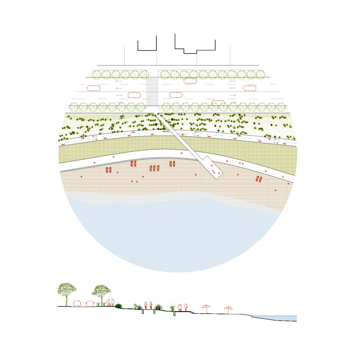 Somes river beach detail plan and section