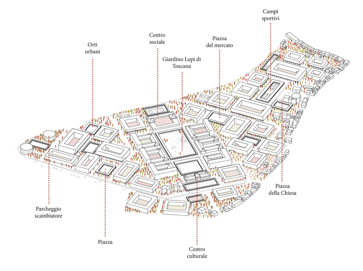 Axonometric view with diverse plazas and public uses