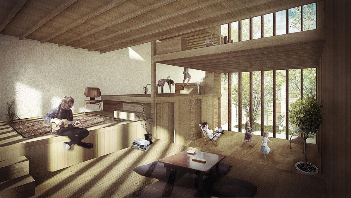 Imagen interior de espacios residenciales con alturas variables