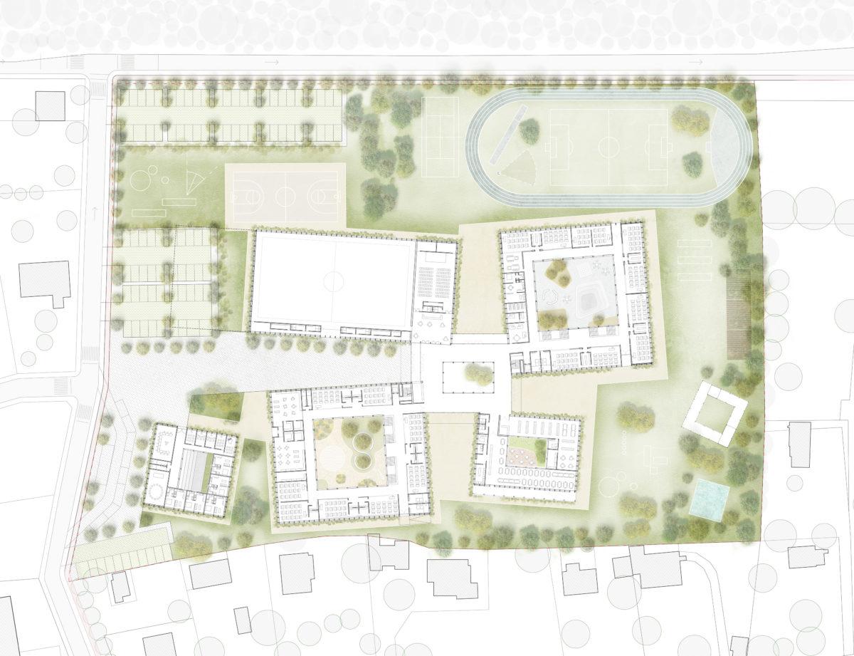 Ground floor plan with sports fields