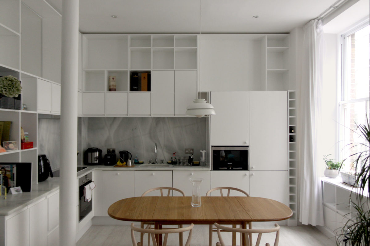 Kitchen and dining room in the residence in Shoreditch