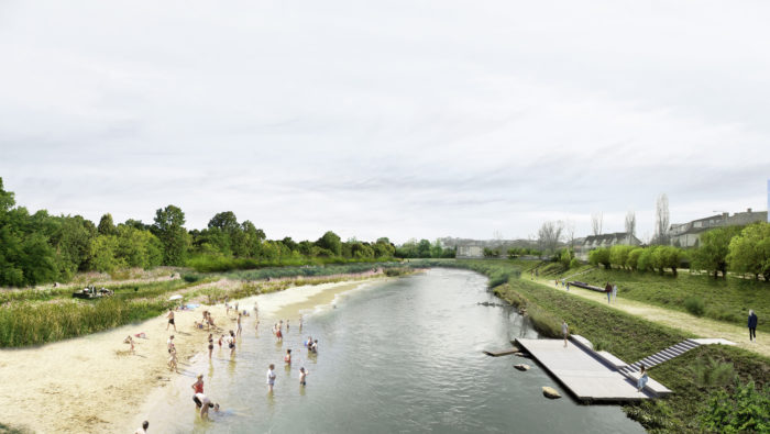 Image that shows river Somes with a beach on one shore and a river walk on the other
