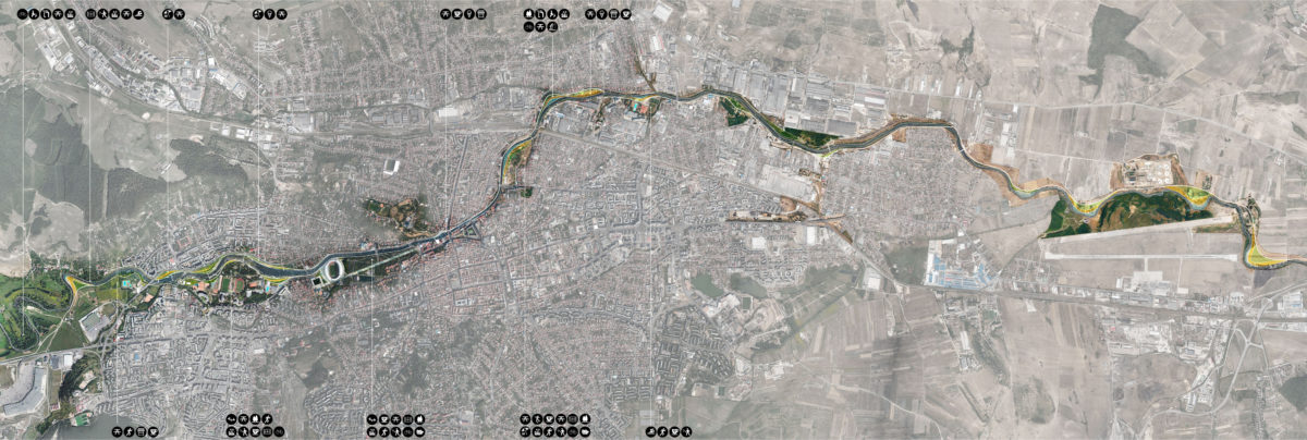 Plan of the masterplan that shows the whole river Somes as it goes through the city of Cluj-Napoca