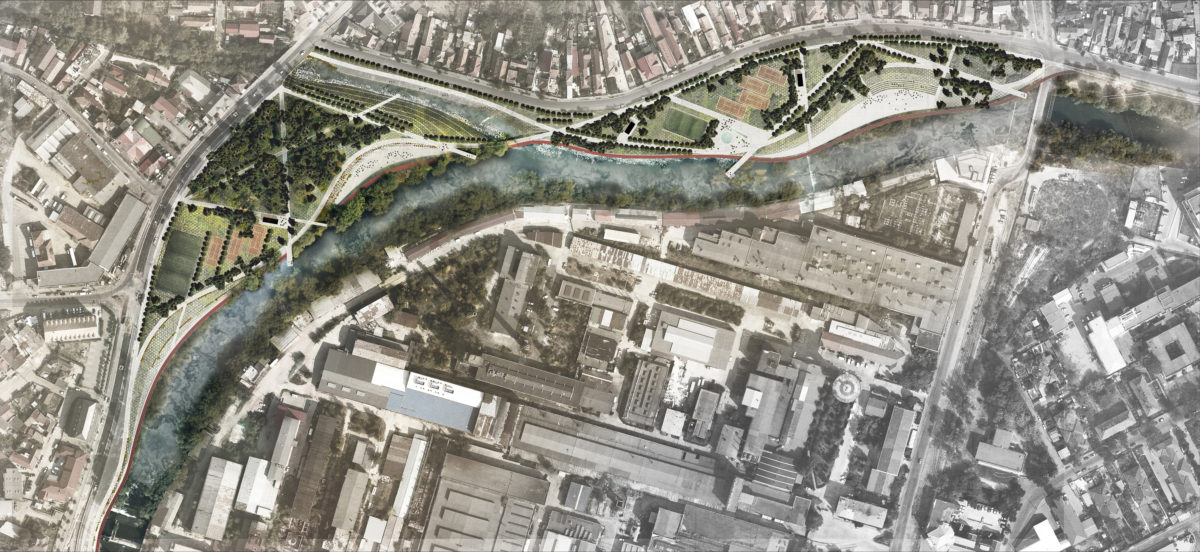 Proposal plan in the Somes river as it passes by the Armatura park