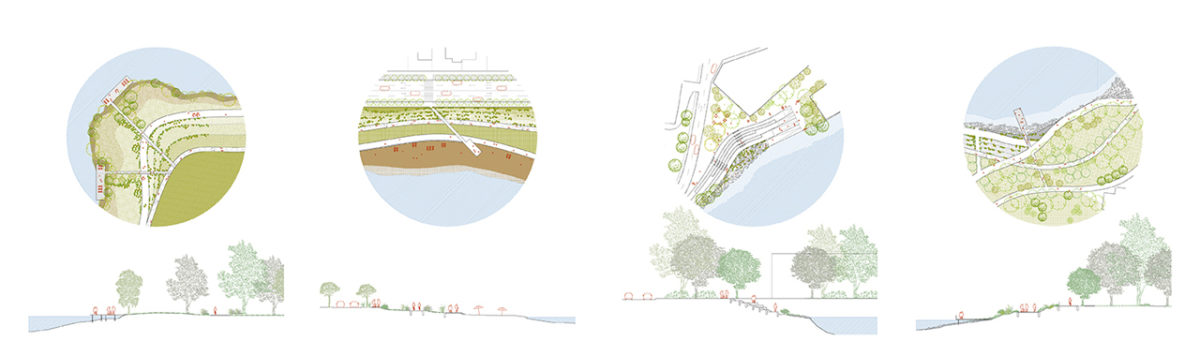 Different situations in plan and section of the urban and rural typologies
