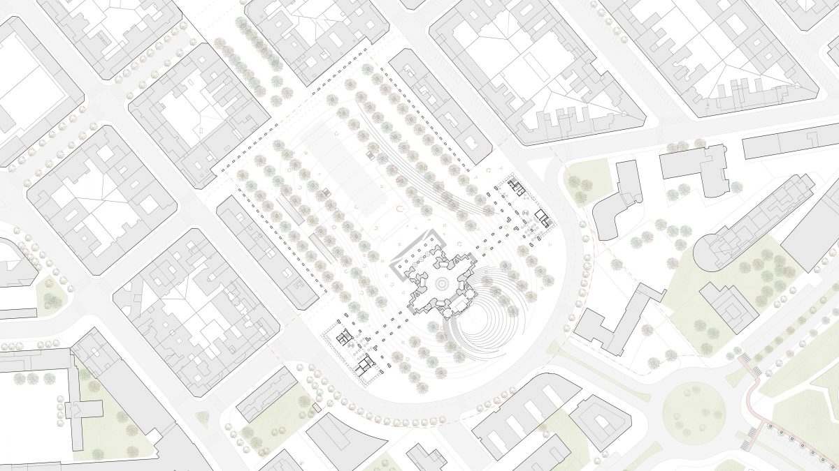 Site plan of the Civic Center in Pamplona