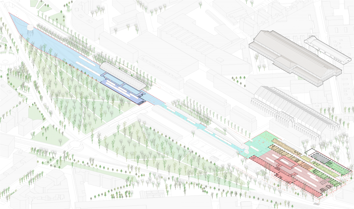 Programmatic axonometric view of Delicias Station