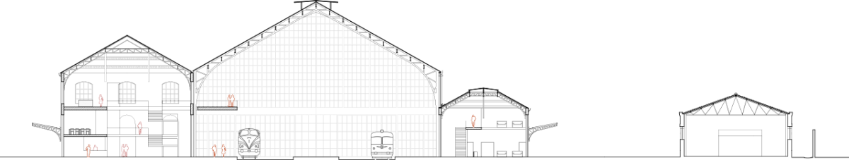 Cross section of Delicias Station