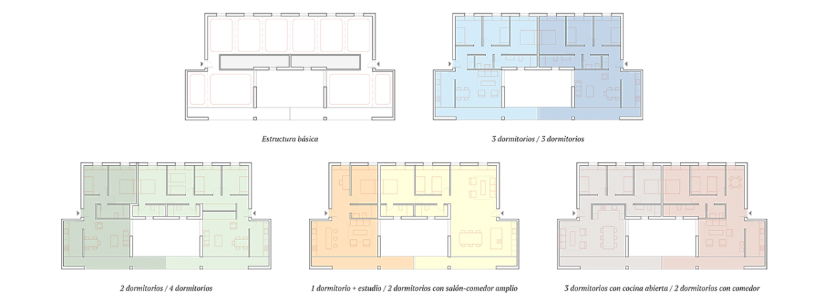 Plan view of the interior versatility of the housing units.