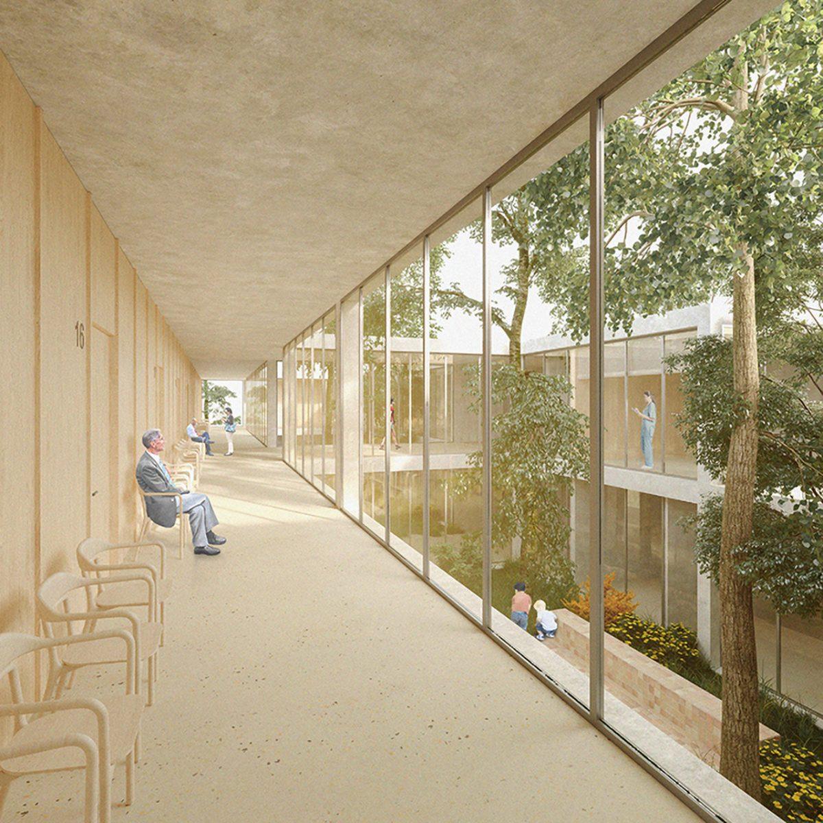 Vista del pasillo del Centro de Salud en Llucmajor