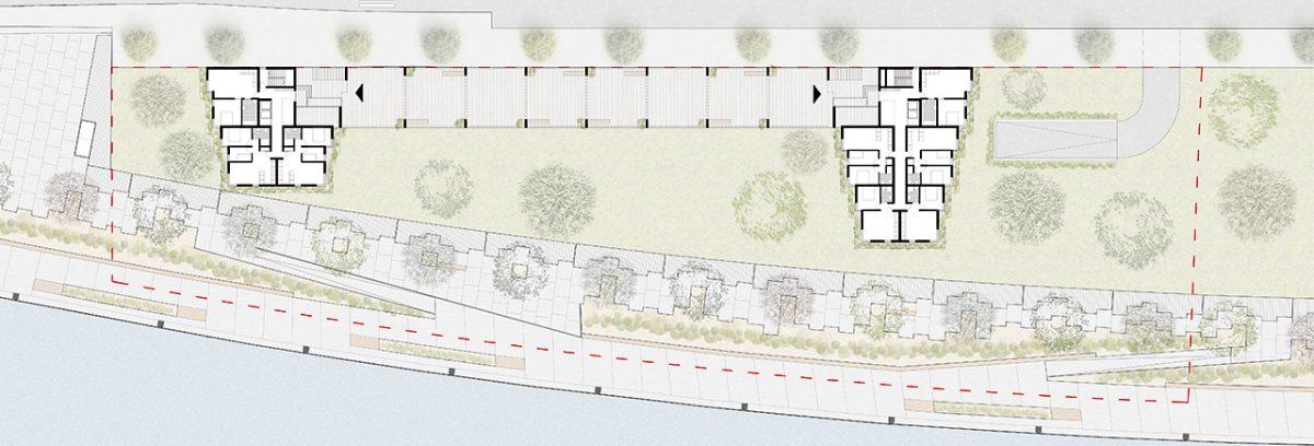 Ground floor plan of the public housing in Zorrotzaurre