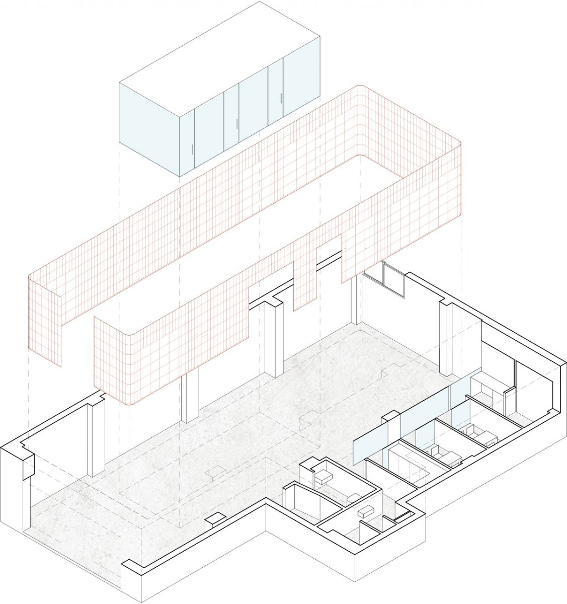 Axonometric view of the clinic