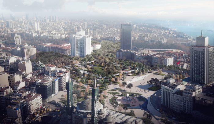 Taksim Square aerial view