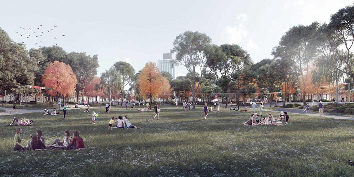 Vista del jardín central de la Plaza Taksim