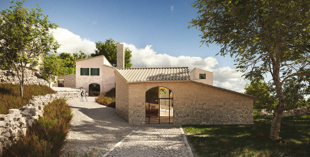 Entry to the mountain shelter at the Raixa Estate