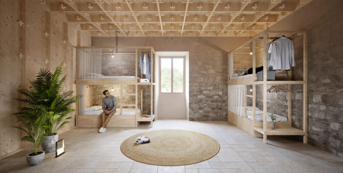Room at the moutnain shelter at the Raixa Estate