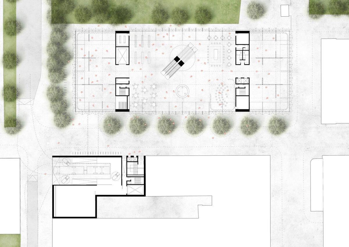 Grounf floor plan of the Sara Hildén Art Museum
