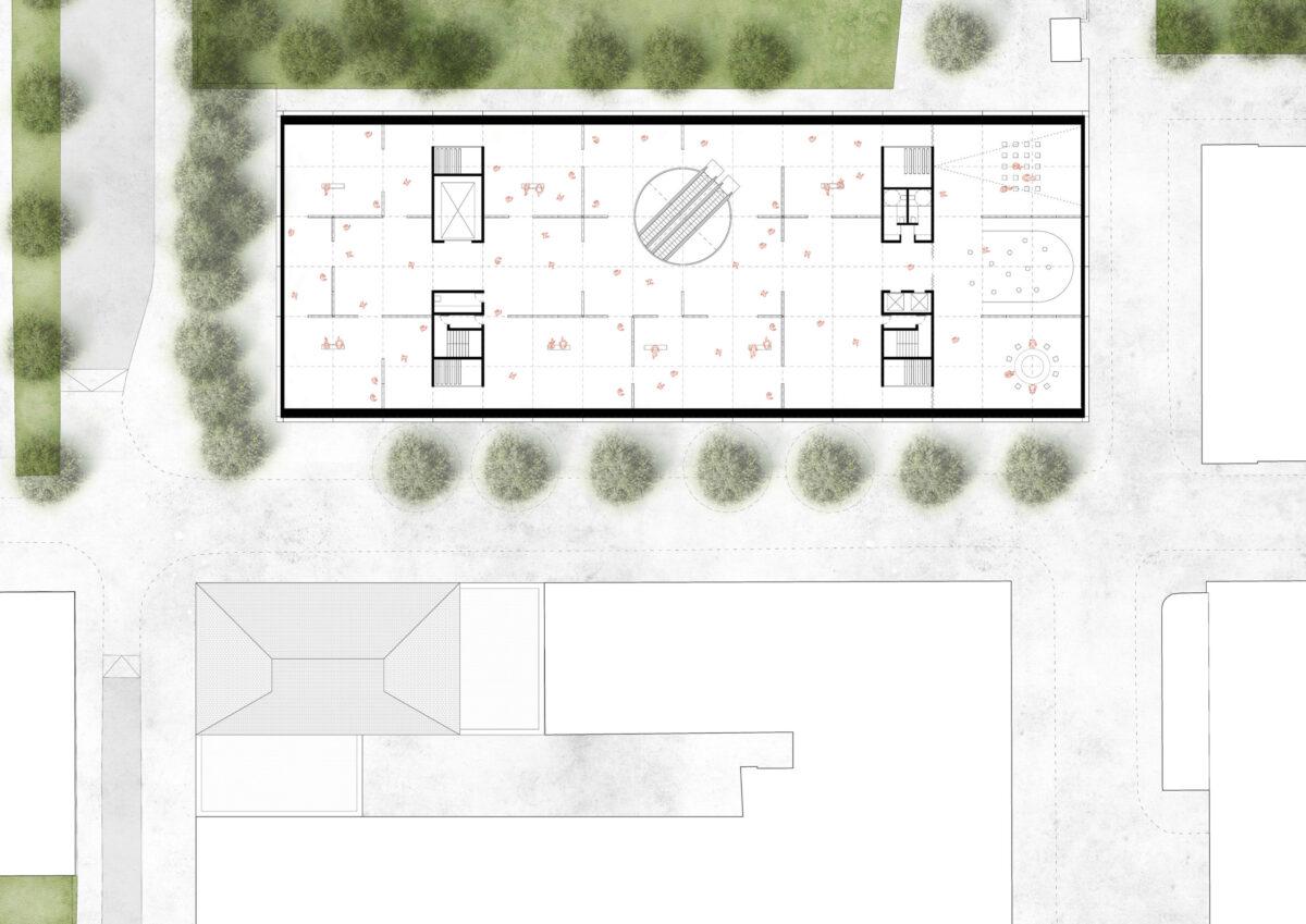 Upper floor plan of the Sara Hildén Art Museum