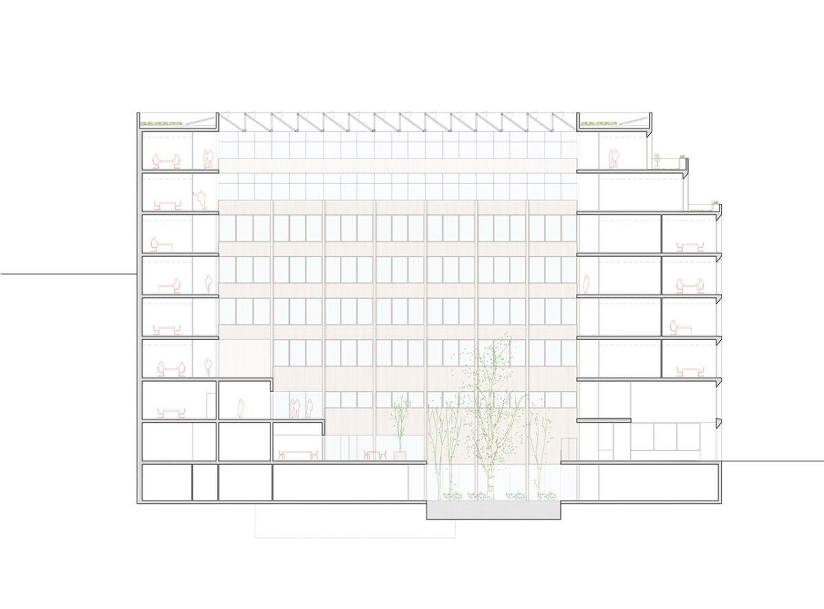 Mossos d'Esquadra Headquarters long section